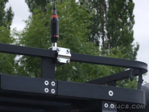 A Two-Way Roofrack mount on a square section roofrack - this roofrack is a full size rack so is large enough to give the aerial a good ground, irrespective of whether the racks got metal-to-metal contact with the vehicle