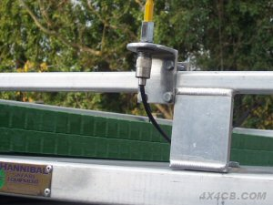 A Two-Way roofrack mount on a galvanised roofrack - you will need to scrape the galvanised layer back to bare metal to make a good earth contact