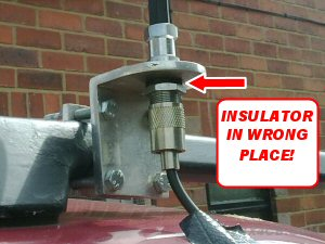 Ooops, the insulator needs to go above the metal, not underneath it!
