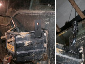 Here the customer welded a plate to his Land Rover Discovery spare wheel carrier to mount the PSM-1 to