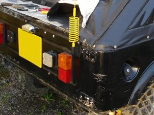 Here a PSM-1 mount is fixed to the back of a heavily modified Suzuki SJ